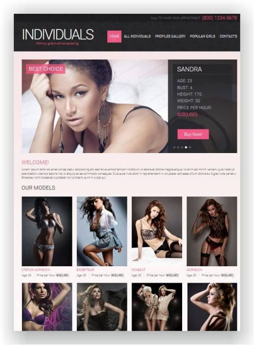 HTML5 Website Escort Service - See the theme here and download ...