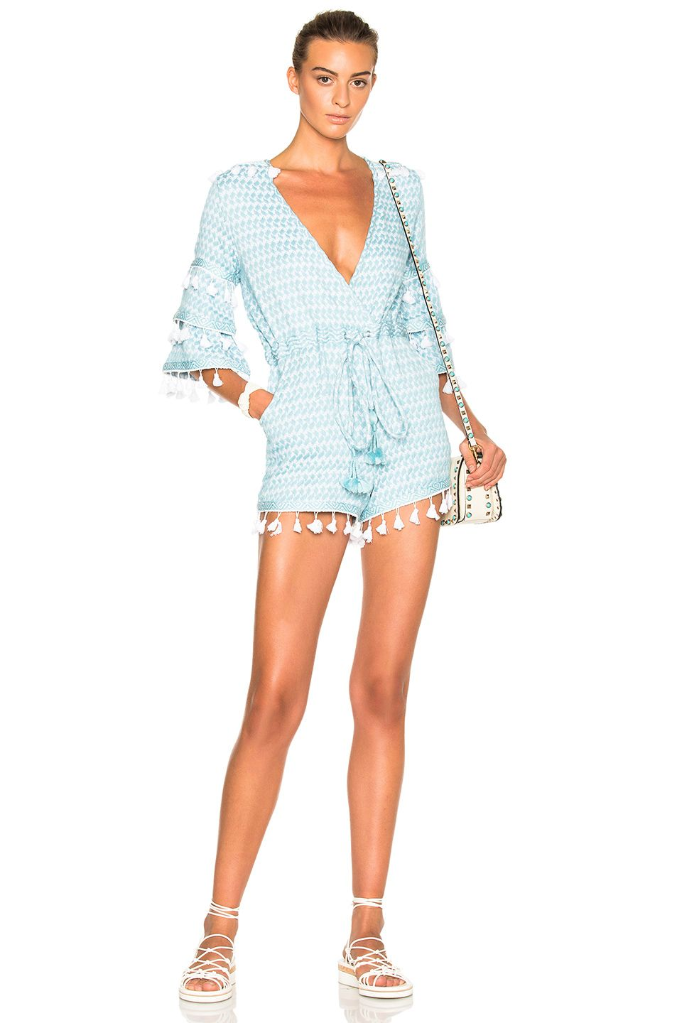 4409283a3929 Image 1 of Dodo Bar Or FWRD Exclusive Ashtar Romper in Blue