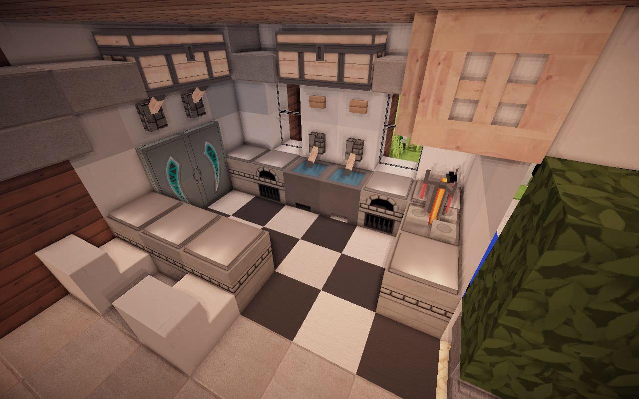 Kitchen | Modern minecraft houses, Minecraft house designs ...