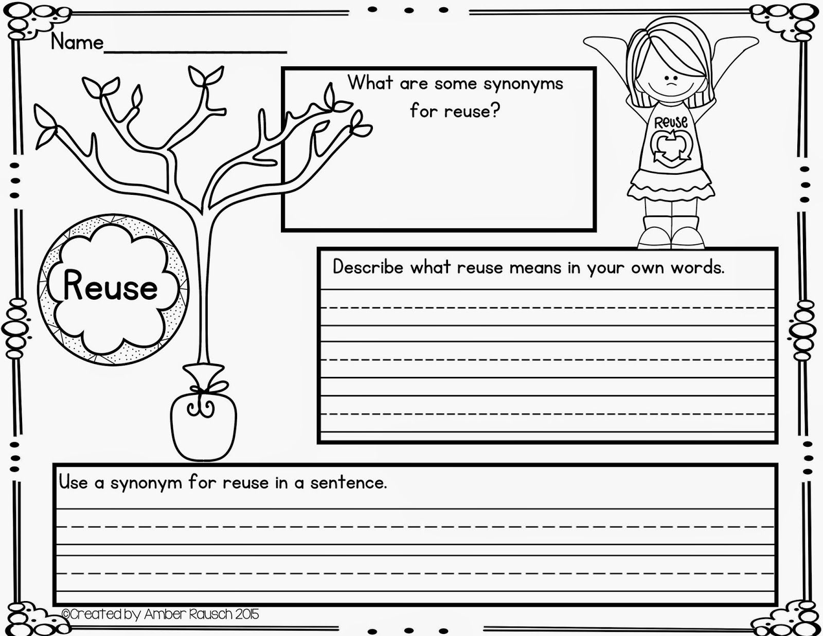 Recycling Worksheet Middle School