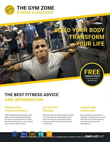 FREE Gym Flyer Template - Word (DOC) | PSD | Apple (MAC) Pages | Publisher | Illustrator