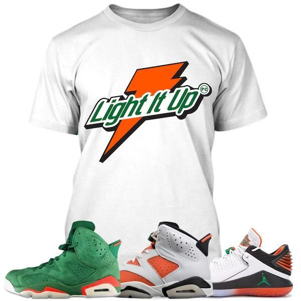 7e3e6d27896eb8 Jordan Retro 6 Gatorade Sneaker Tee Shirt to match made by Planet Grapes  Clothing. Shirt is made out of pre-shrunk cotton and fits true to size.