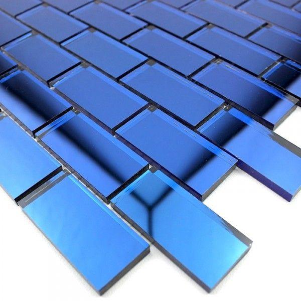Mosa que mur salle de bain effet miroir reflect brique for Accessoires salle de bain bleu marine