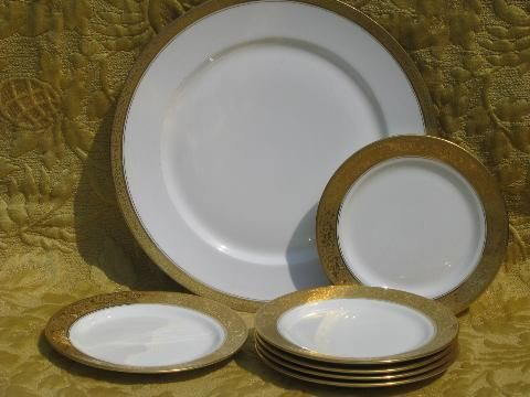 antique Limoges french china dessert set encrusted gold plates and tray & antique Limoges french china dessert set encrusted gold plates and ...