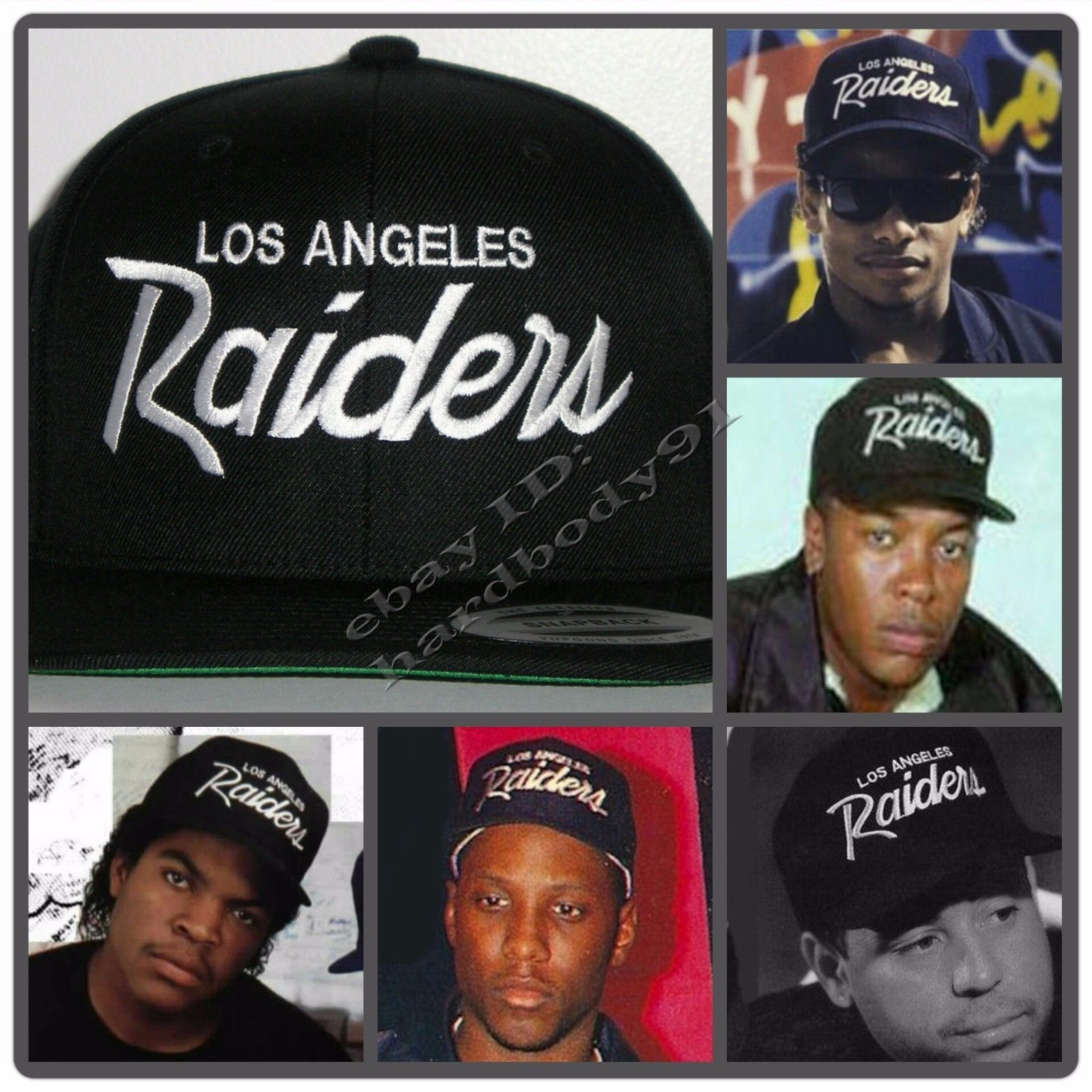 f179d708f1769 More like the NWA ones - brand is Yuurong or something    Vintage Replica  La Los Angeles Raiders Script Cap Hat Snapback Black NWA Eazy E