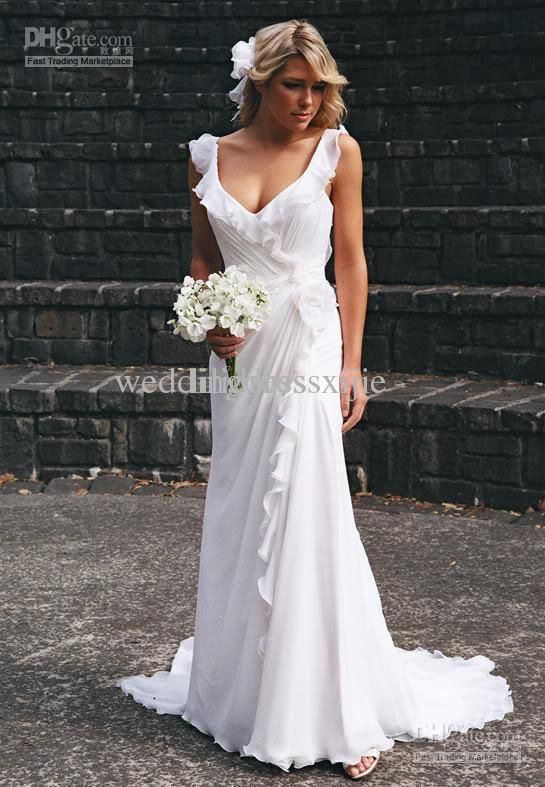 Wholesale Beach Wedding Dresses V-neck Bridal Gown Chiffon Open Back Chapel  Train Pleat Empire Elegant Cheap 1dbb8e14ebfd