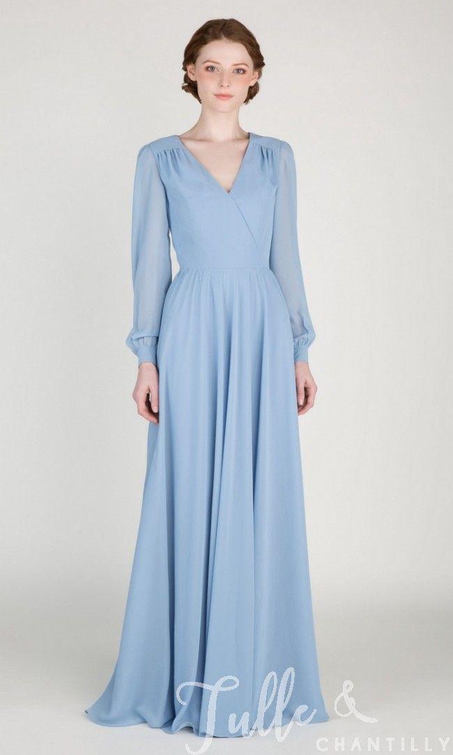 Elegant Long Sleeved Bridesmaid Dress Tbqp415 Long Sleeve Bridesmaid Dress Bridesmaid Dresses Long Blue Baby Blue Bridesmaid Dresses