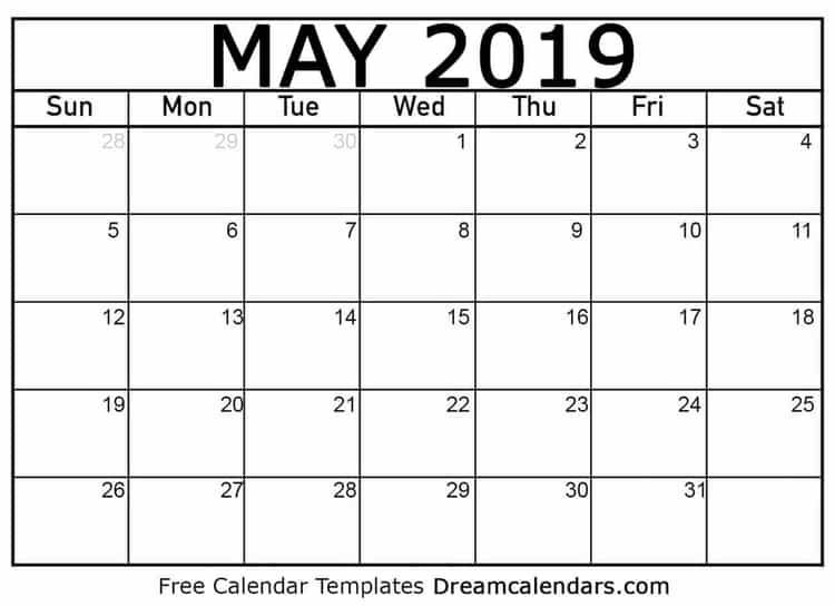 picture about Printable May Calendars known as Printable Blank Could possibly 2019 Calendar Printable July