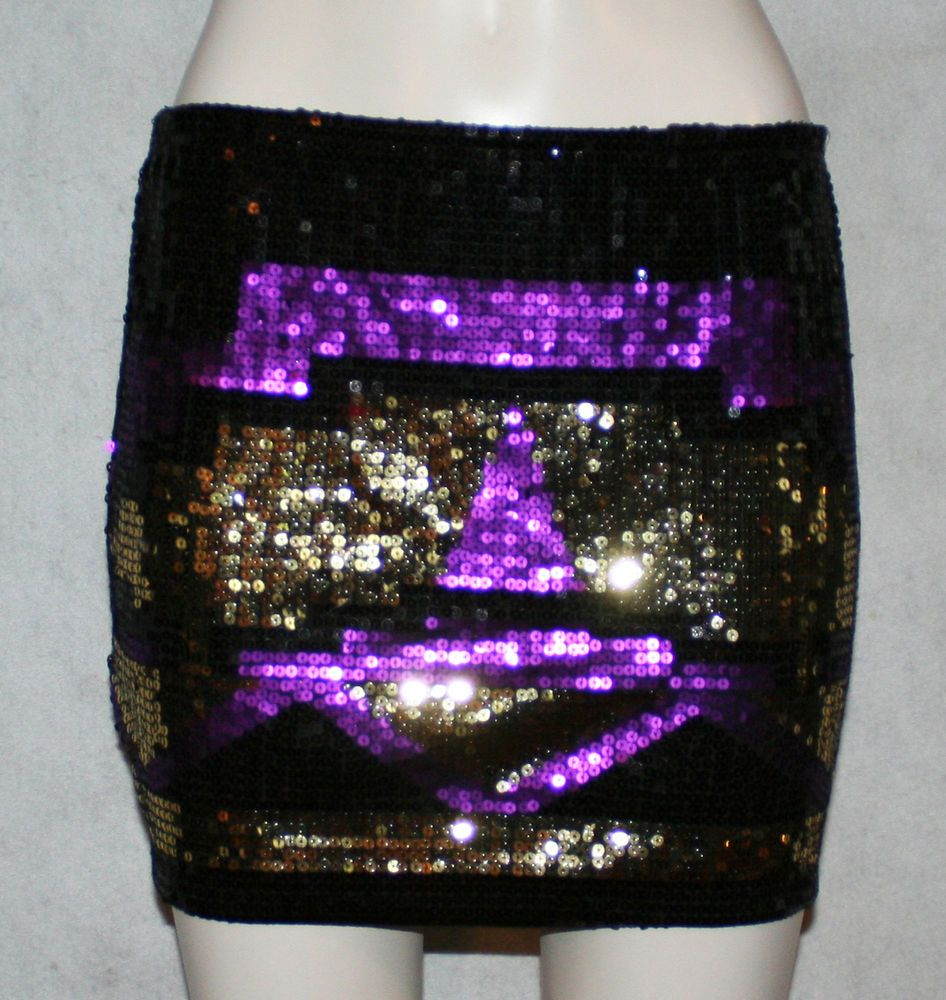 SZ L - WET SEAL sequin skirt purple gold black size Scene HOT Mardi Gras SEXY #WetSeal #Mini designer clothes for cheap! #bcbg #victoriassecret #pink #cache #highlow #dress #heels #stilettos #designer #betseyjohnson #whitehouseblackmarket #NEW #trendy #prom #formal #homecoming #cocktail #ball #balls #designer