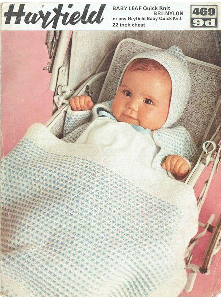 Hayfield 469 baby pram set and blanket vintage knitting pattern