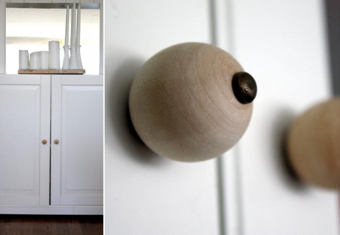 Diy Wooden Beads As Cabinet Hardware Diy Diy