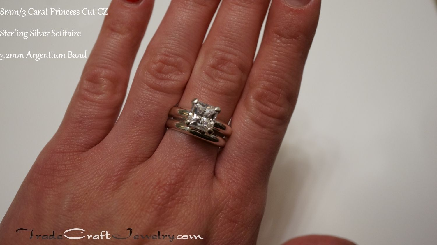 Pin On Cz Engagement Ring Hand Shots Stone Size Comparisons
