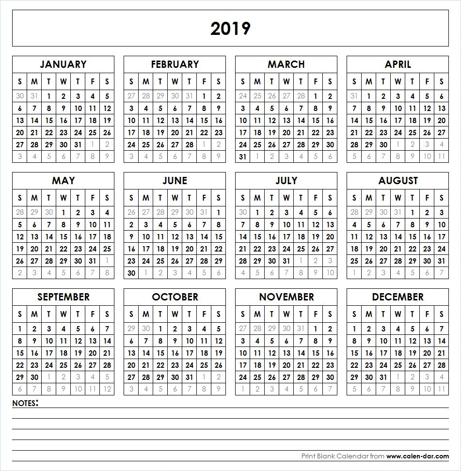 Yearly Calendar Template 2019 2019 Printable Calendar | Yearly Calendar | Printable calendar