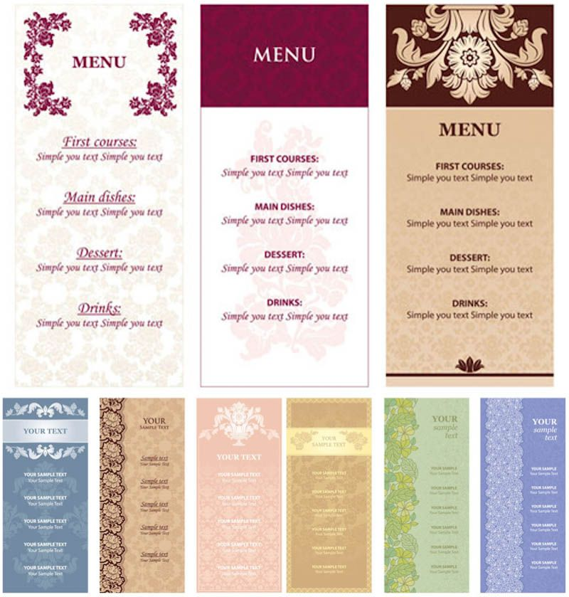 restaurant menu card templates free download hotels menu