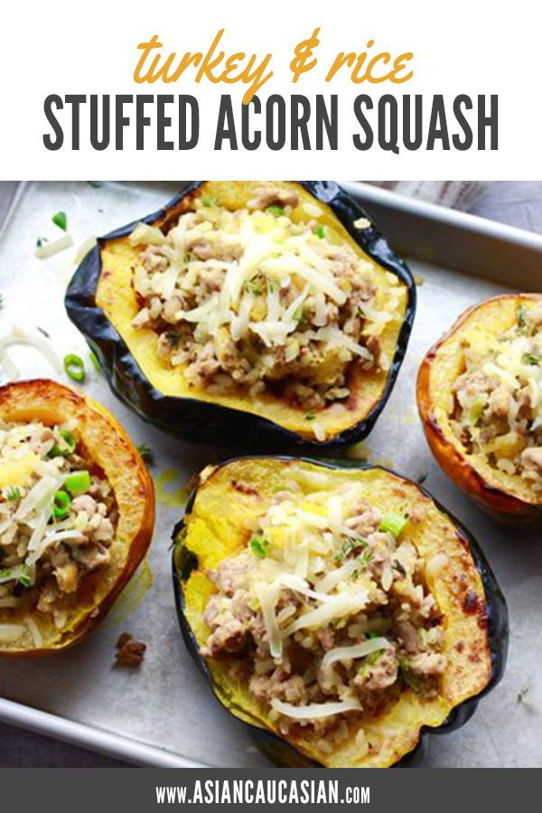 Stuffed Acorn Squash With Turkey And Rice Recipe Food Recipes