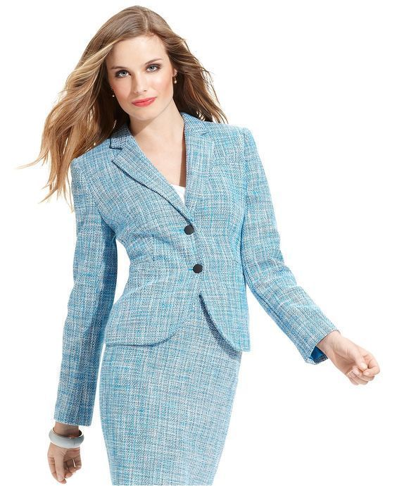 4101413d1cf Calvin Klein Womens Teal Herringbone Business Suit Jacket Amp Skirt 4P 6P  Lined