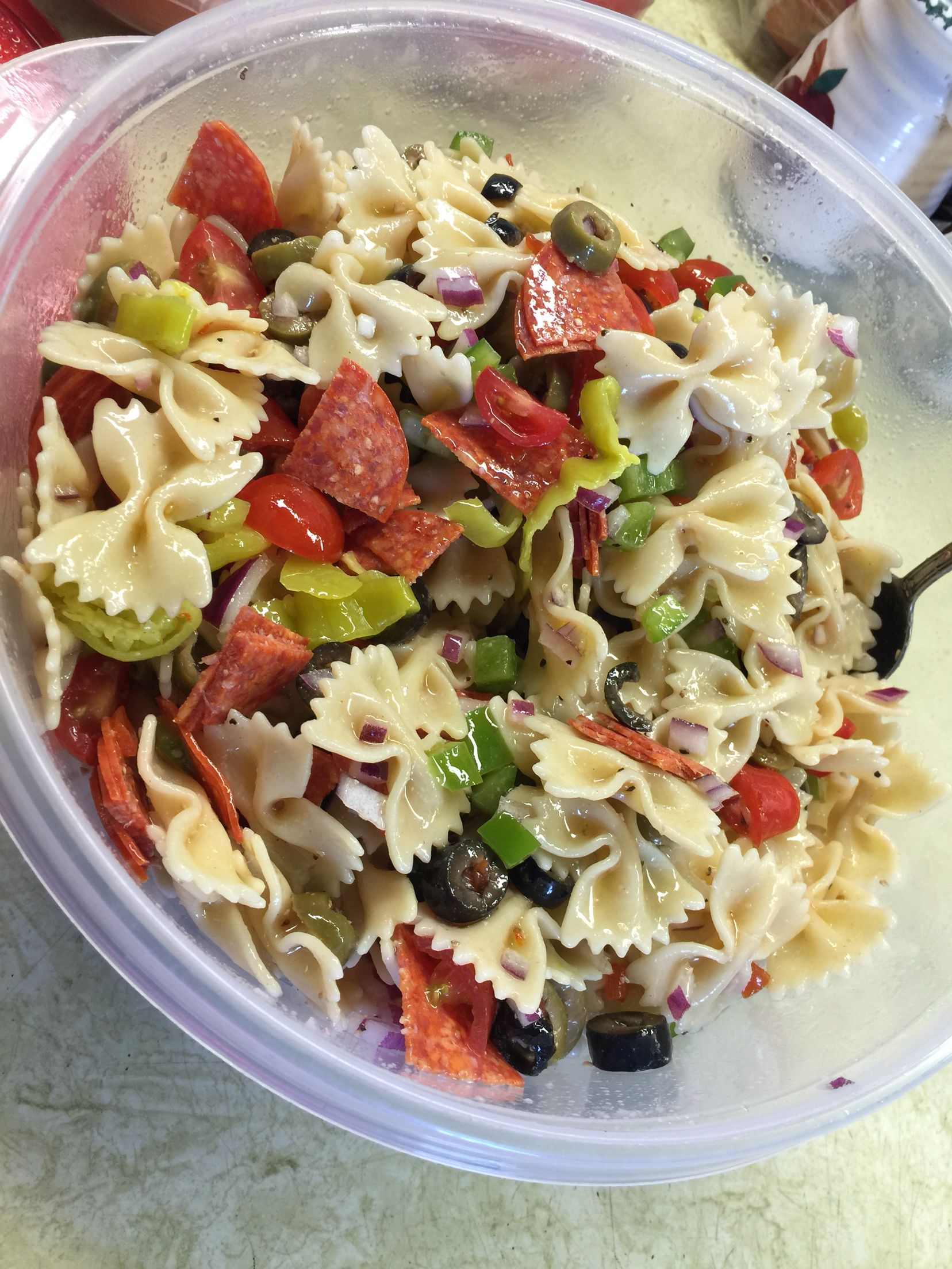 My Favorite Pasta Salad 1 2 Lb Bow Tie Pasta 1 2 Red Onion