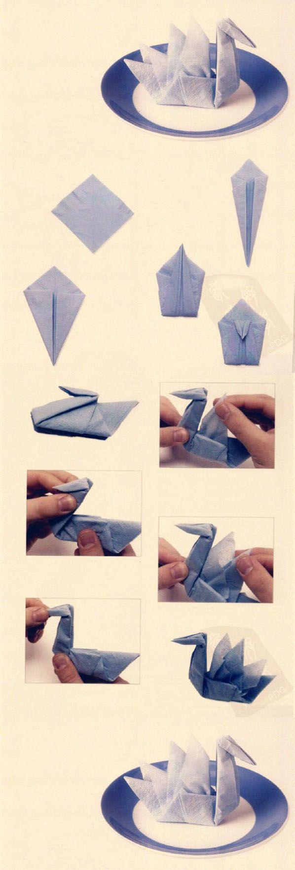 ナプキン折り方 つる | 紙ナプキン | Pinterest | Servietten, Nähen Und Basteln