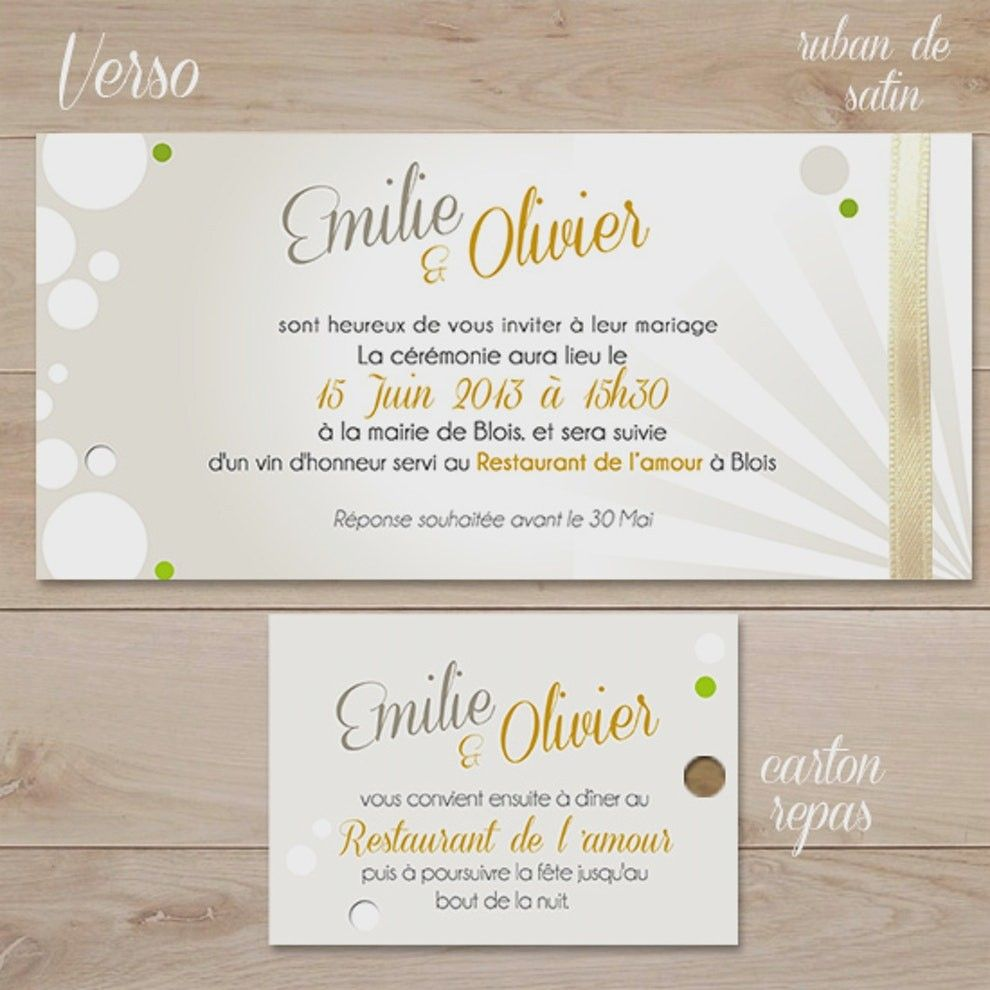 invitation repas mariage elegant modele
