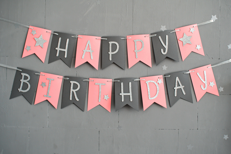 happy birthday banner pink 3 Mtres