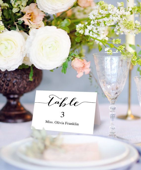 Wedding Place Card Printable Template