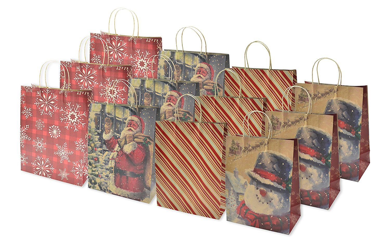 Christmas large gift bags kraft 12 pack remarkable