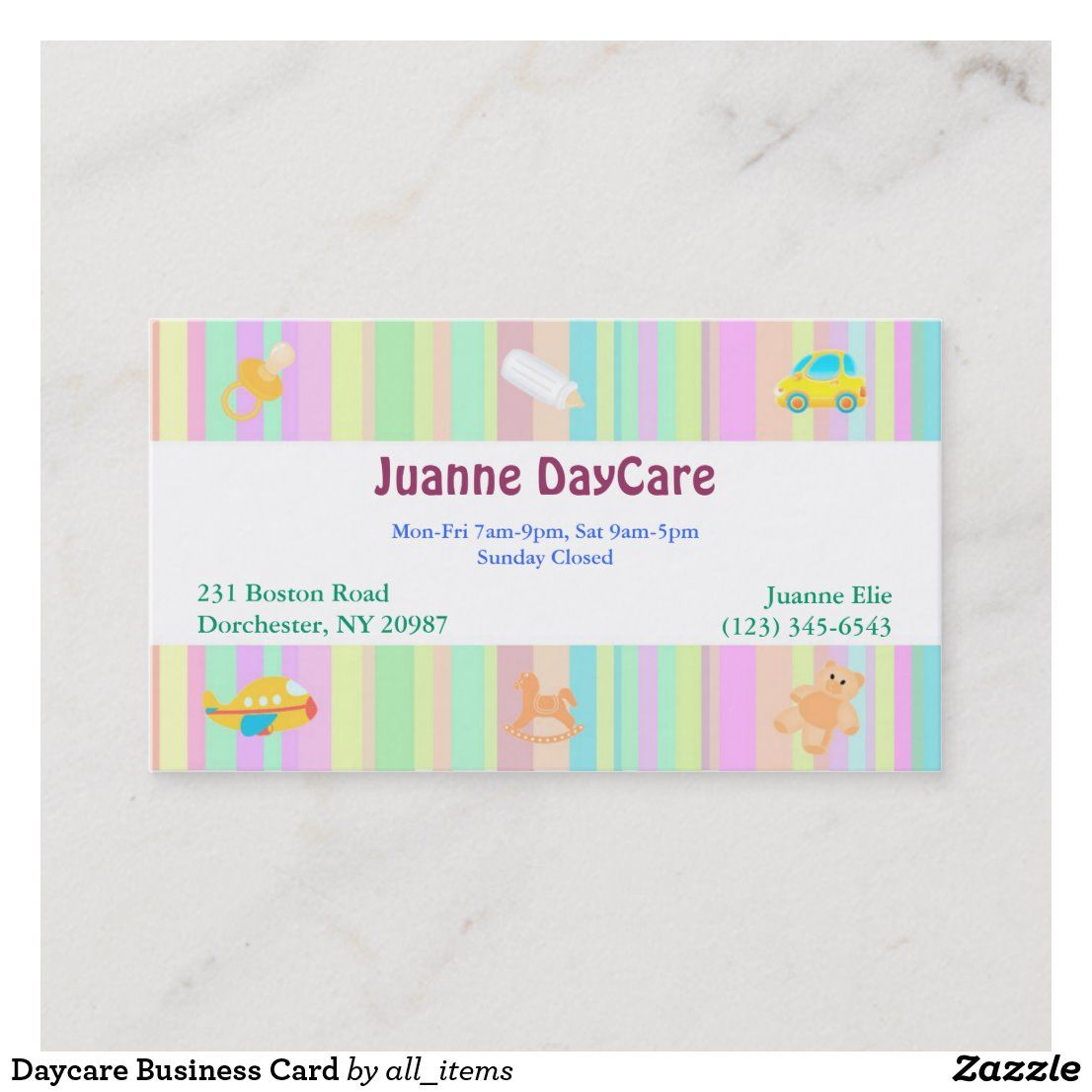 Daycare Business Card Zazzle Com Business Cards Custom Business Cards Daycare