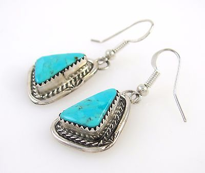 Gemstone Earrings Mens//Womens Ankh Turquoise Silver Plated Tribal//Native
