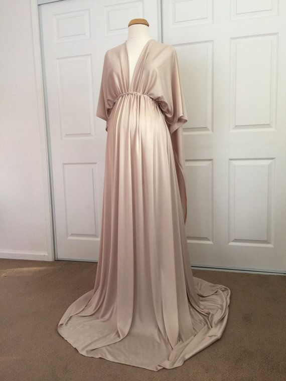 96ac2163ddc Champagne Jersey Maternity Infinity Gown by BoutiqueByAgnes