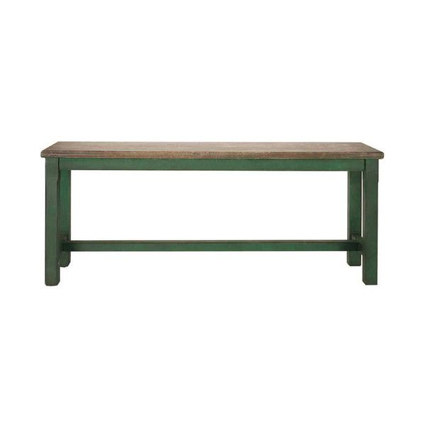 Green Distressed Bench ($219) ❤ liked on Polyvore featuring home, furniture, benches, distressed furniture, weathered furniture, weathered bench, antiqued furniture and green distressed furniture
