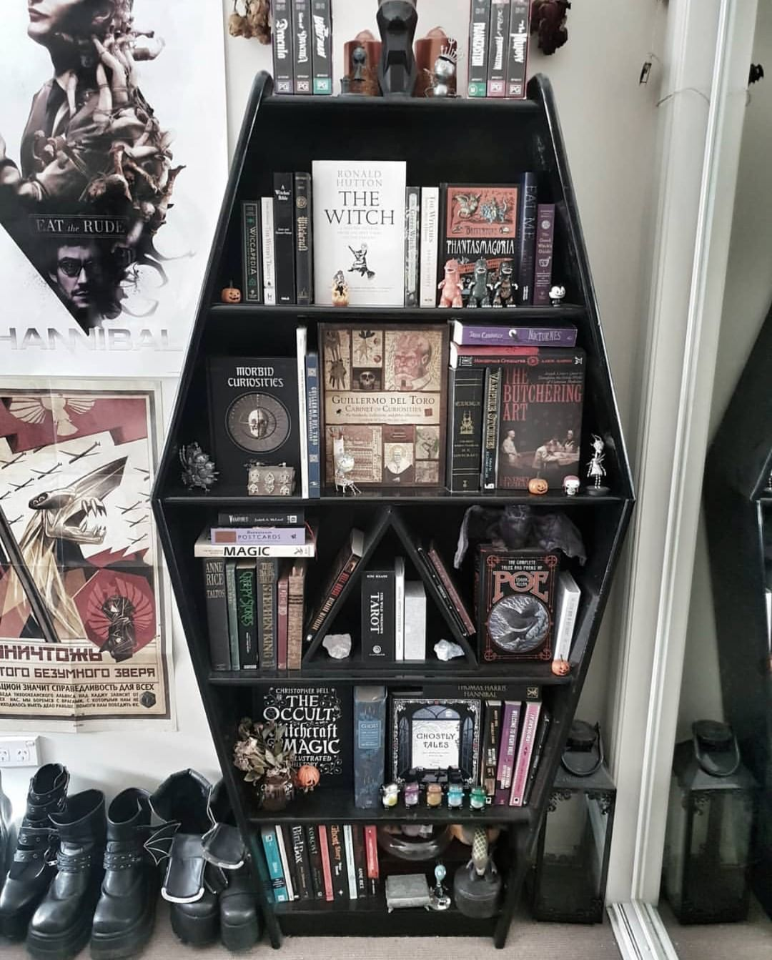 "Photo of ⠀⠀⠀⠀⠀⠀⠀⠀⠀ATTITUDE CLOTHING Co. on Instagram: ""This bespoke bookcase is so perfect!! 😭 📸 @Fiiendfyre . #books #bookcase #coffin #black #goth #gothic #gothgoth #home #homegoals"""