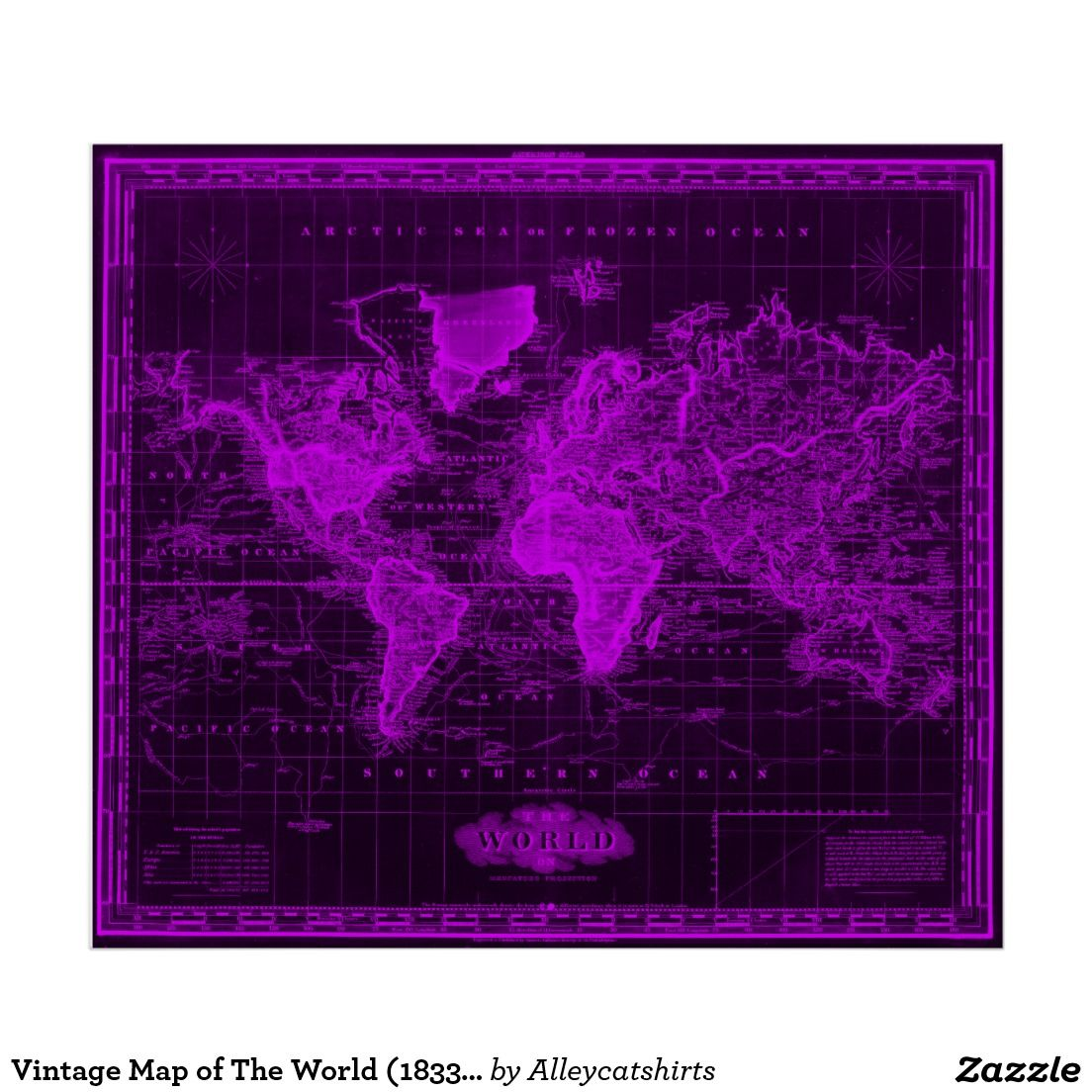 Vintage map of the world 1833 black purple poster colorful vintage map of the world black purple poster gumiabroncs Image collections