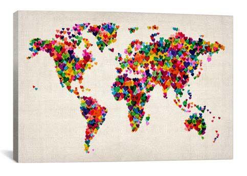 World Map Hearts (Multicolor) II by Michael Tompsett Canvas Print - iCanvas.com