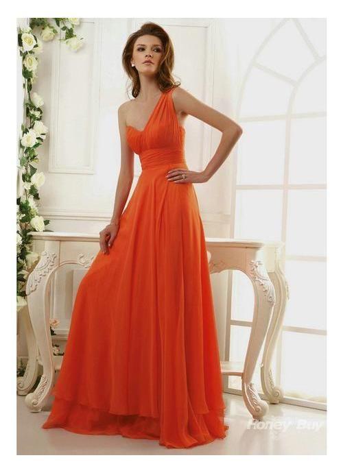 Chiffon One Shoulder Orange Bridesmaid Dresses