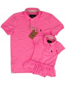 f5f9ae73de4d3 Kit Camisa Polo Tal Pai Tal Filha Malha Flamê (Rosa Chiclete ...