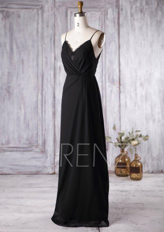 2c2543da4a59 Bridesmaid Dress Black Chiffon Dress Wedding Dress Spaghetti Strap ...