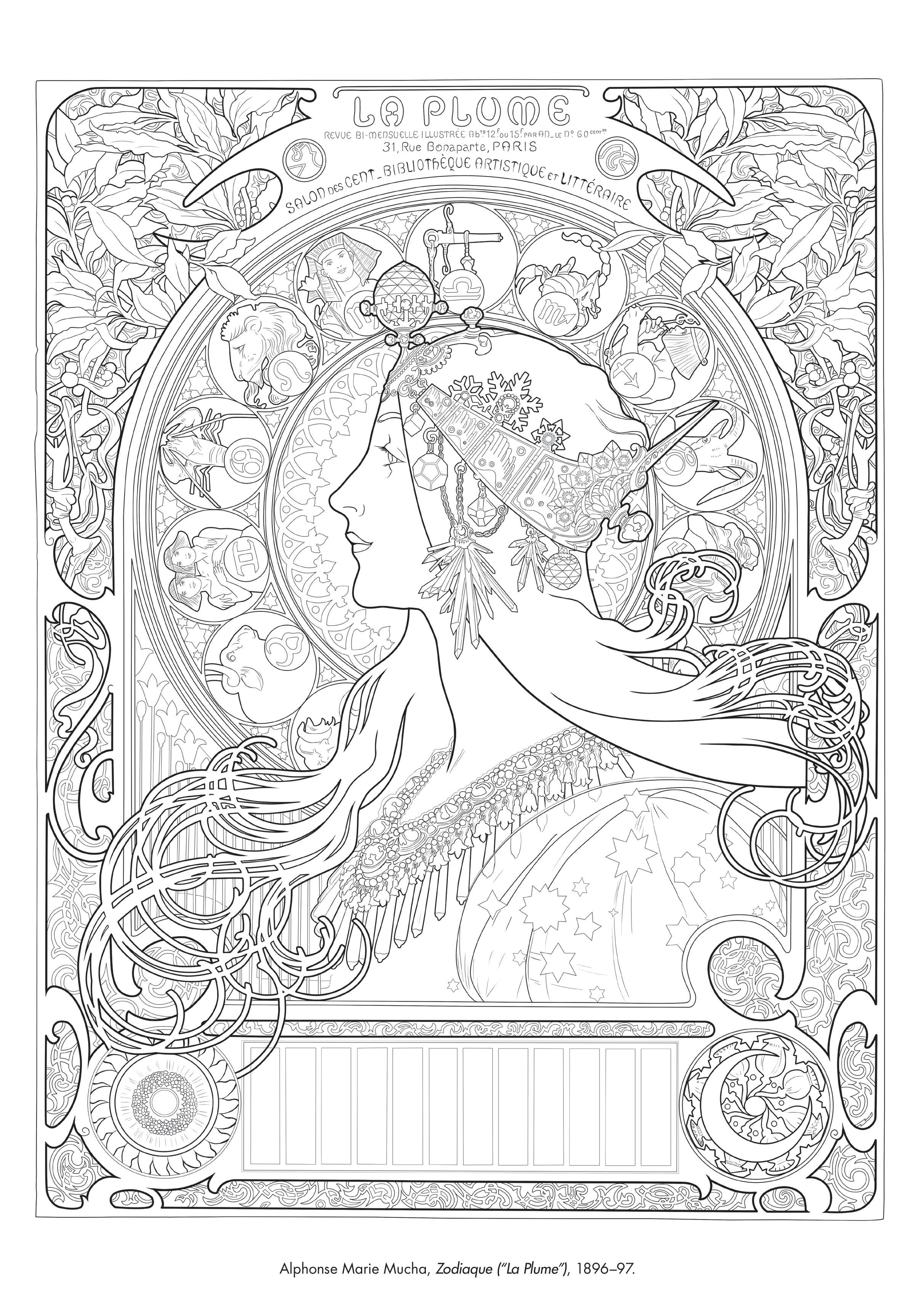 Coloring Page Of Zodiaque By Alphonse Marie Mucha In Color The Classics From The Art Institute Of Chicago And So Art Institute Of Chicago Art Art Inspiration