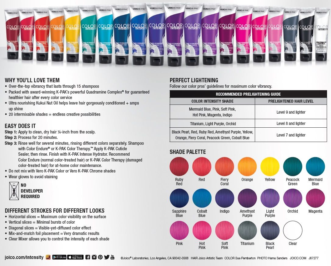 Joico color intensity fact sheet color intensity s intermixable