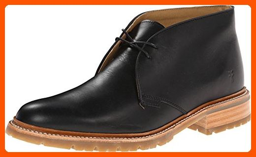 Frye Men S James Lug Chukka Black Smooth Full Grain Boot 8