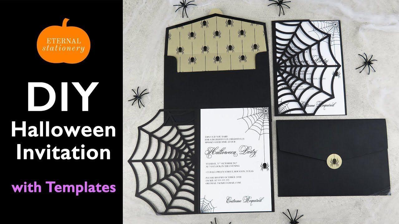 DIY Halloween Invitation Card Cobweb Invitations using