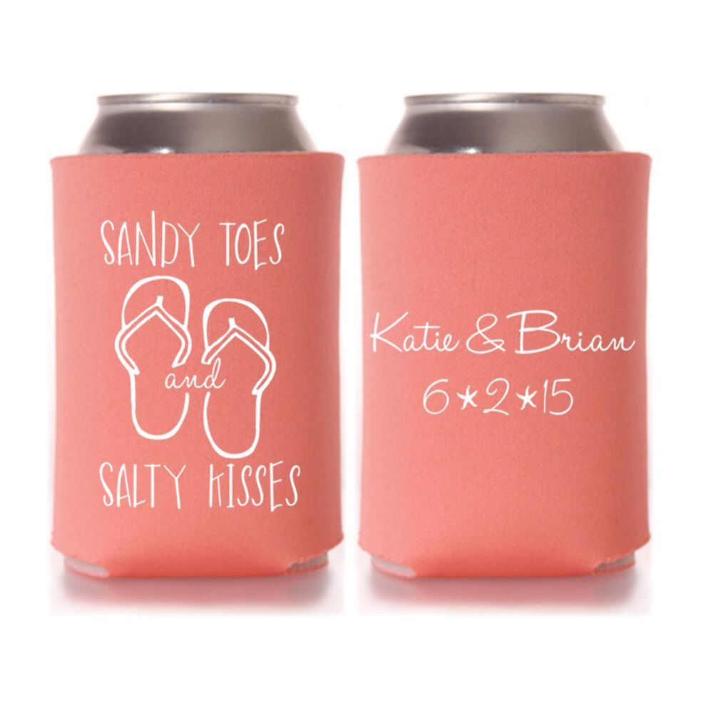 Beach Wedding Favors - Sandy Toes Salty Kisses Personalized Can ...