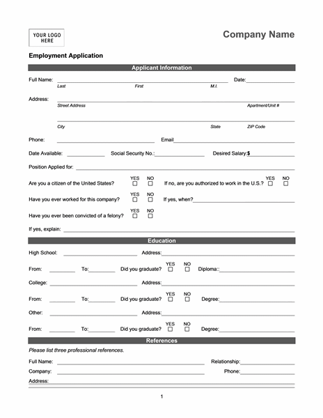 Job Application For Character Analysis.