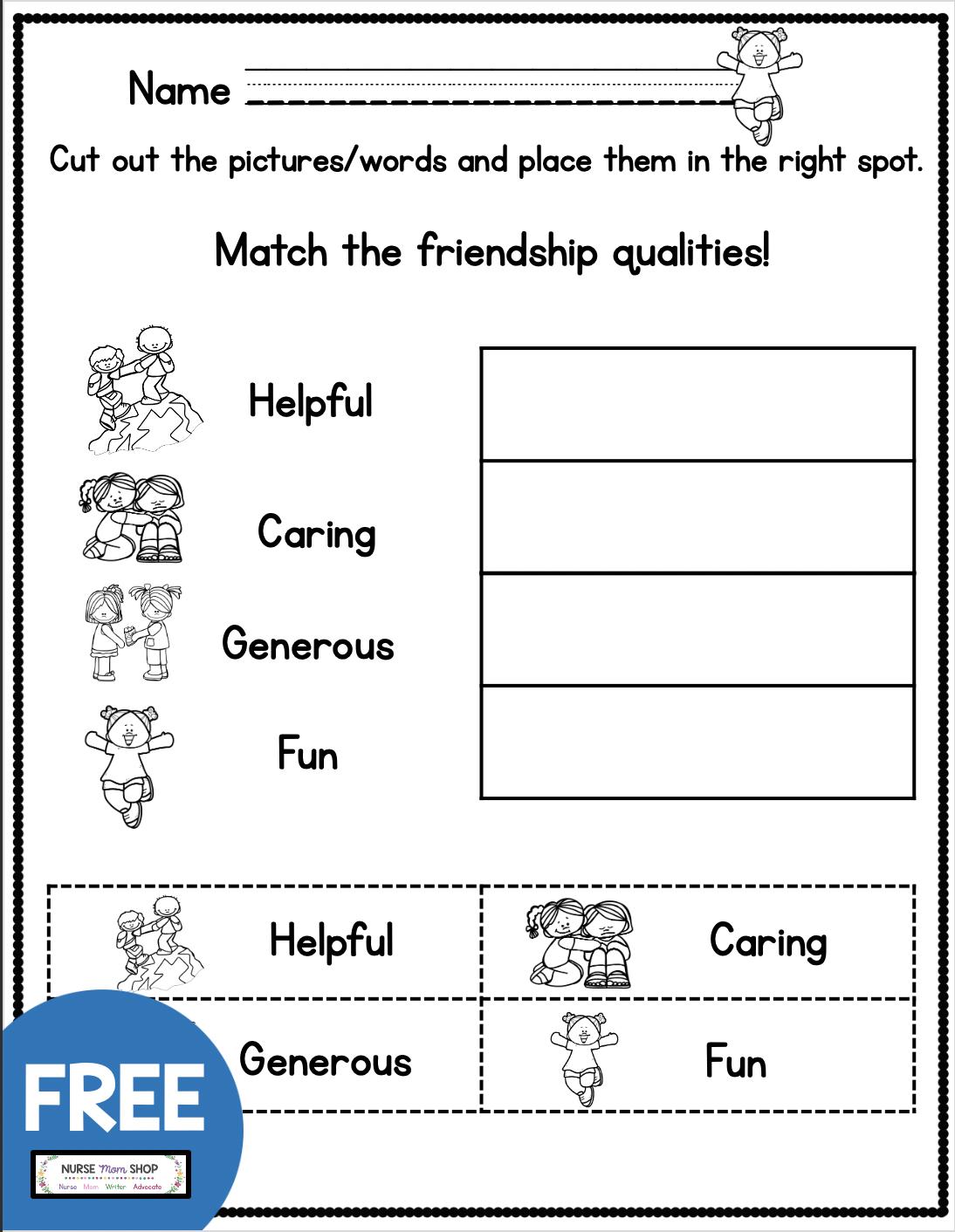 Free Friendship Worksheets For Kindergarten