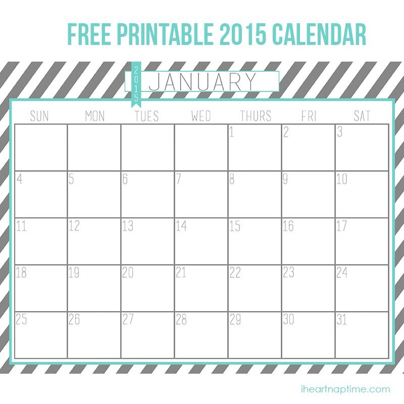 2015 Free Printable Calendar On Iheartnaptime.com  Perfect For Getting  Organized In The New
