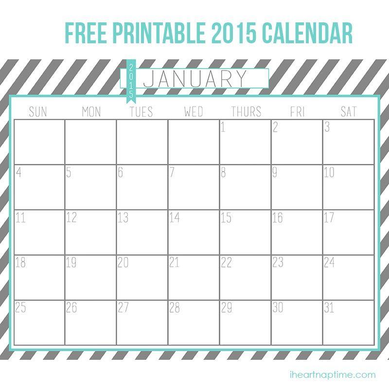 2015 Free Printable Calendar Calendars Pinterest Free