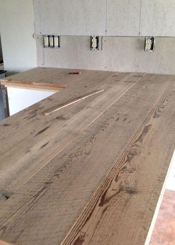 Diy Reclaimed Wood Countertop House Renovations