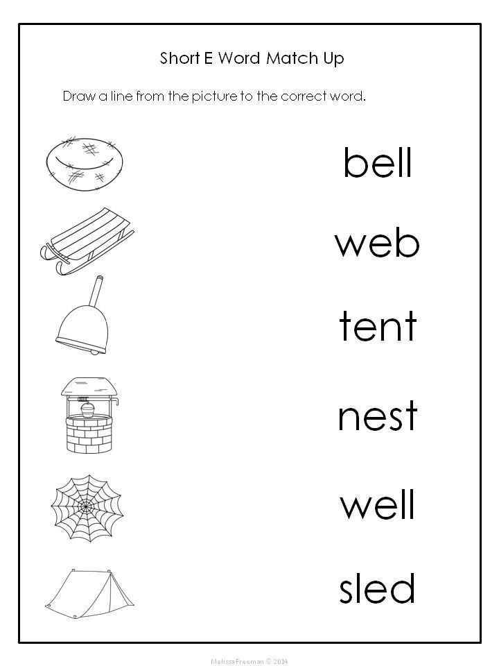 Match Word With Picture Ed Words Kindergarten Reading Worksheets English Phonics Kindergarten Phonics Worksheets