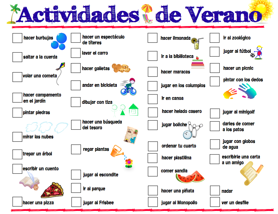 Printable Spanish Summer Activities List – Free Spanish Worksheets for Kindergarten
