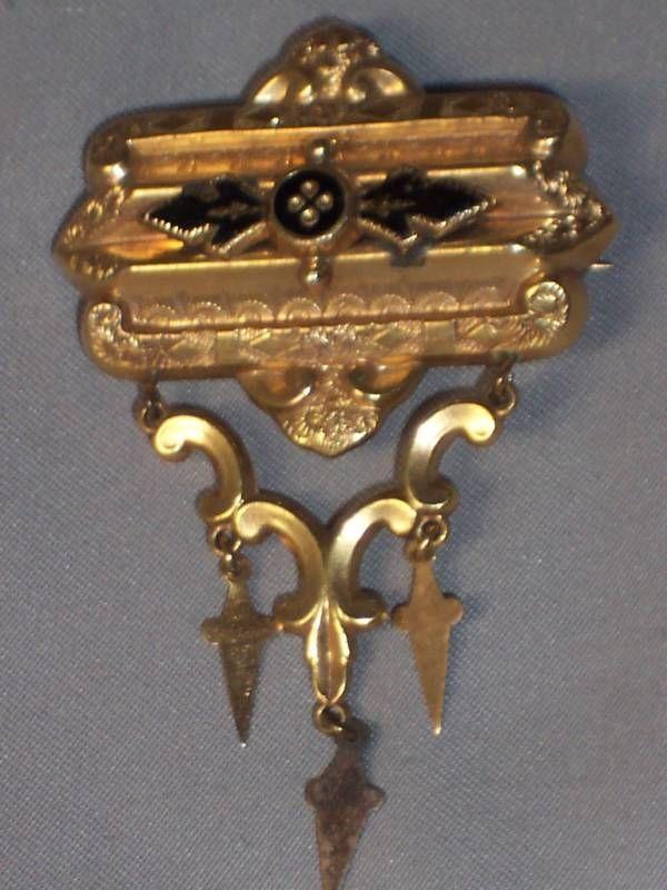 Gold Filled Antique Victorian Brooch Pin Necklace Black Enamel