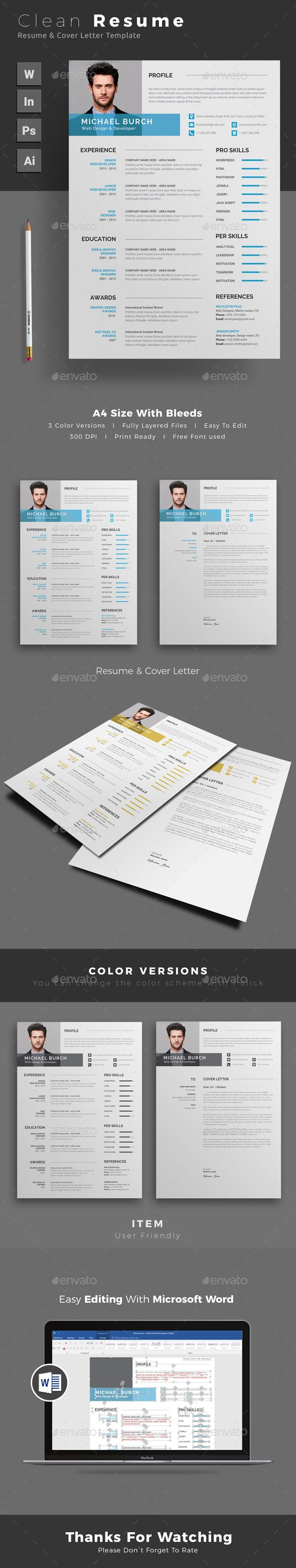 Resume By Themedevisers Word Template CV With Super Clean And Modern Look Page Designs Are Easy To Use Custom
